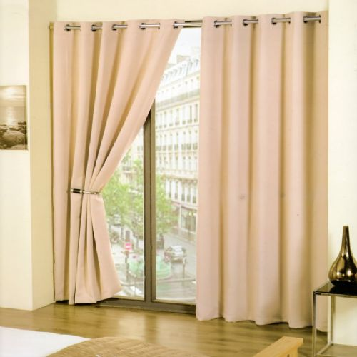 PLAIN STONE BEIGE COLOUR READYMADE THERMAL BLACKOUT LIGHT REDUCING EYELET CURTAINS